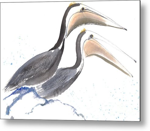 A Pair Of Pelican Is Perching On Rock. This Is A Contemporary Chinese Ink And Color On Rice Paper Painting With Simple Zen Style Brush Strokes.  Metal Print featuring the painting Pelicans by Mui-Joo Wee