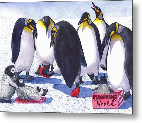 Penguin Metal Print featuring the painting Pinguino Heels by Catherine G McElroy
