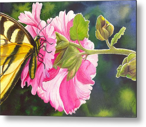 Hollyhock Metal Print featuring the painting Pink Hollyhock by Catherine G McElroy