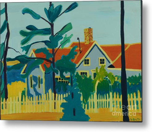 Beach Metal Print featuring the painting Pinkys House On Pemaquid Point by Debra Bretton Robinson