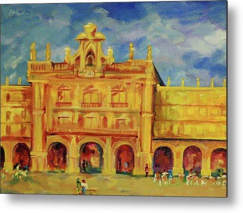European City Metal Print featuring the painting Plaza Mayor Salamanca by Danielle Hacker