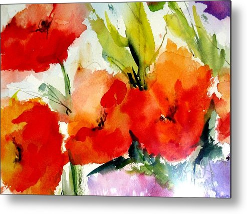Floral Metal Print featuring the painting Poppies by Vesna Grundler