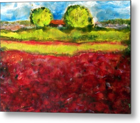 Landscape Metal Print featuring the painting Poppy Meadow by Karla Phlypo-Price