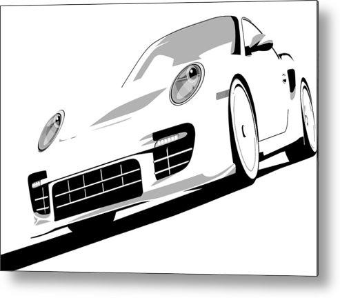 Porsche Metal Print featuring the digital art Porsche 911 Gt2 White by Michael Tompsett
