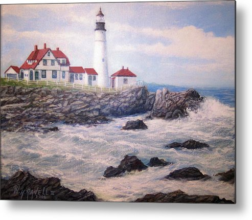 Lighthouse Metal Print featuring the painting Portland Head Lighthouse by William H RaVell III