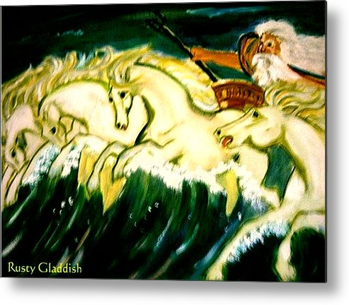 Mythical Metal Print featuring the painting Poseidon by Rusty Gladdish