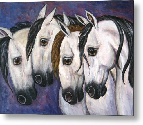 Horse Painting Metal Print featuring the painting Purple Haze by Frances Gillotti