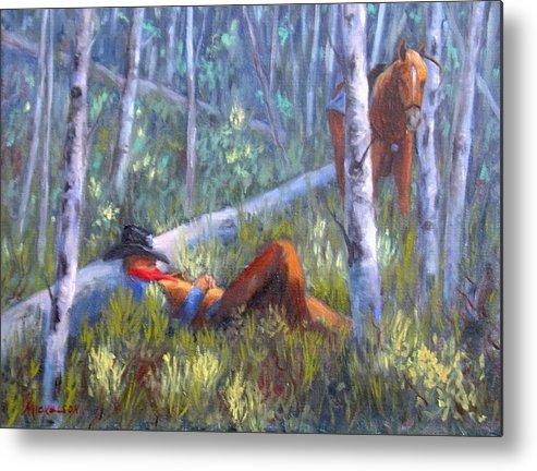 Cowboy Metal Print featuring the painting Quiet Siesta by Debra Mickelson