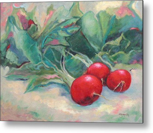 Radishes Metal Print featuring the painting Radishes by Ginger Concepcion