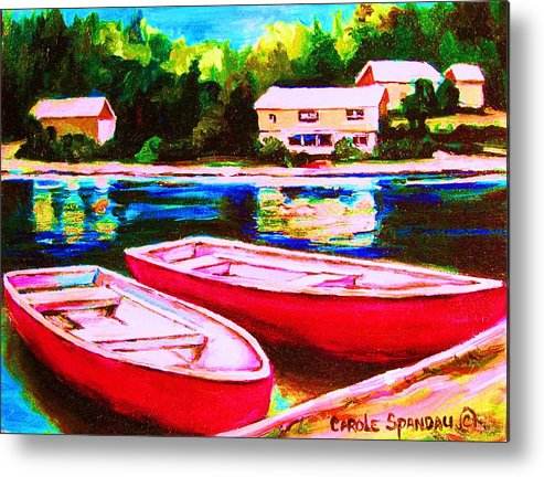 Red Boats Metal Print featuring the painting Red Boats At The Lake by Carole Spandau