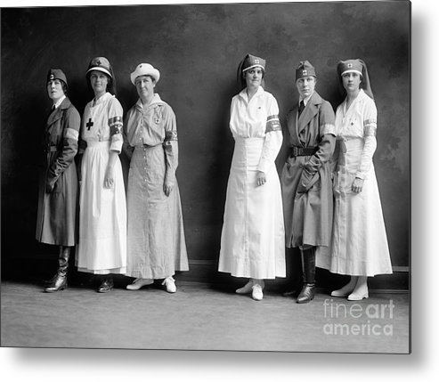 1920 Metal Print featuring the photograph Red Cross Corps, C1920 by Granger