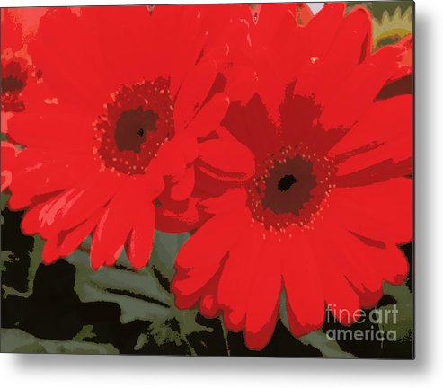 Daisys Metal Print featuring the photograph Red Gerberas by Pruddygurl Exclusives