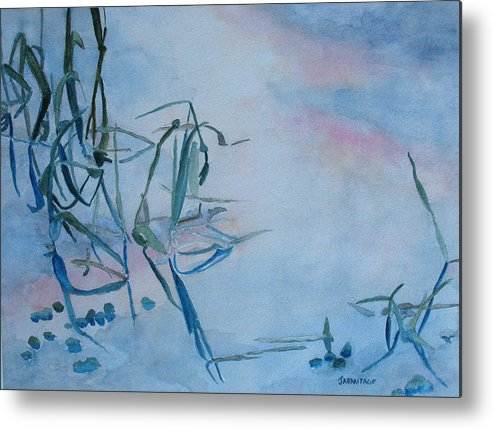 Reeds Metal Print featuring the painting Reeds At Sunset by Jenny Armitage
