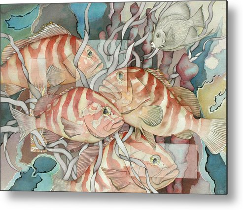 Fish Metal Print featuring the painting Reef Story by Liduine Bekman