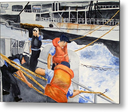 Navy Metal Print featuring the painting Refueling by Robert Thomaston