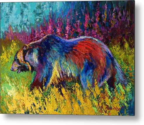Western Metal Print featuring the painting Right Of Way - Grizzly Bear by Marion Rose