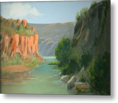 Landscape Metal Print featuring the painting Rio Grande Canyon by Roxanne Rodwell