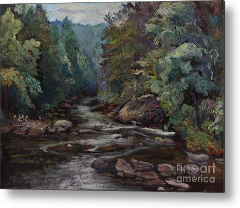 Oil Painting Metal Print featuring the painting River Valley Visit by Maris Salmins