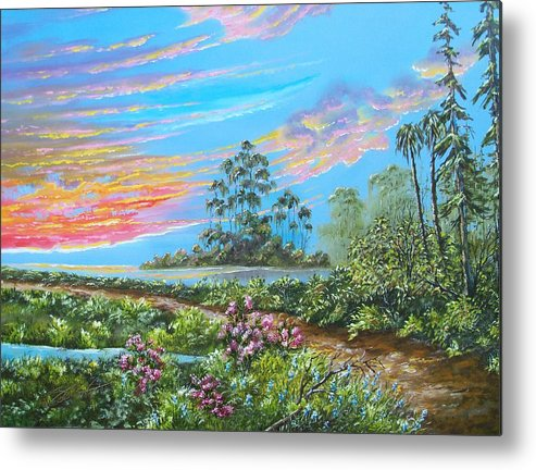 Landscape Metal Print featuring the painting Road To Happiness by Dennis Vebert
