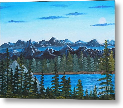 Barbara Griffin Metal Print featuring the painting Rocky Mountain View by Barbara Griffin