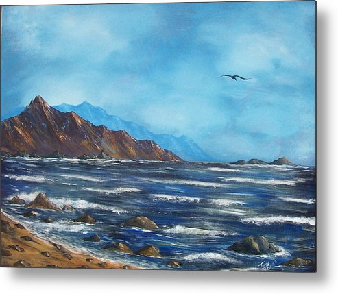 Seascape Metal Print featuring the painting Rocky Shores by Tony Rodriguez