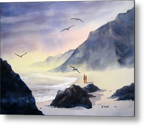 Landscape Metal Print featuring the painting Romance Of The Cormorants by Shirley Braithwaite Hunt