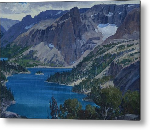 Landscape Metal Print featuring the painting Ross Lake by Lanny Grant