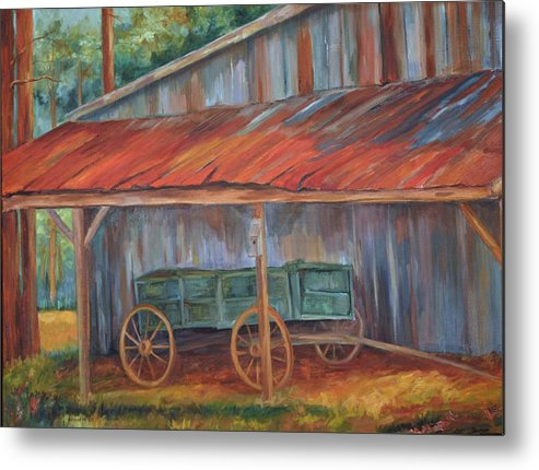 Old Wagons Metal Print featuring the painting Rustification by Ginger Concepcion