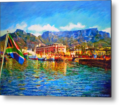 South African Metal Print featuring the painting Sa Flag At The Waterfront by Michael Durst