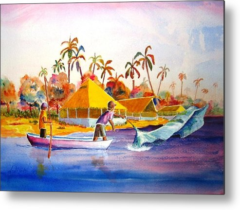 Net Fisherman Metal Print featuring the painting Sacraficio by Buster Dight