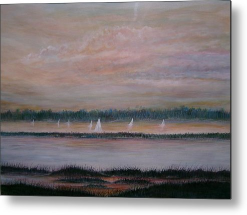 Sailboats; Marsh; Sunset Metal Print featuring the painting Sails In The Sunset by Ben Kiger