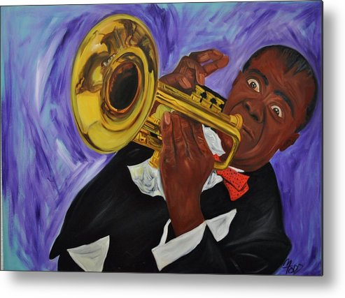 Louie Armstrong Metal Print featuring the painting Satchmo by Mitchell Todd