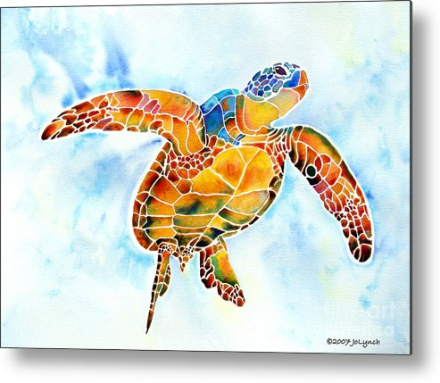 Sea Turtle Metal Print featuring the painting Sea Turtle Gentle Giant by Jo Lynch