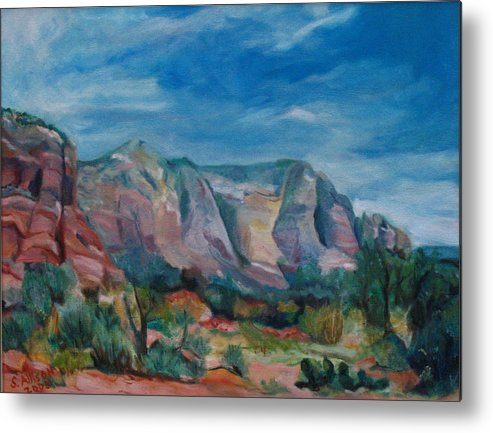 Landscape Metal Print featuring the painting Sedona II by Stephanie Allison