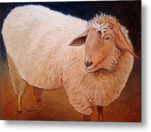 Animal Metal Print featuring the painting Shaggy Sheep by Scott Plaster