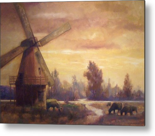Windmill Metal Print featuring the painting Sienna Mill by Ruth Stromswold