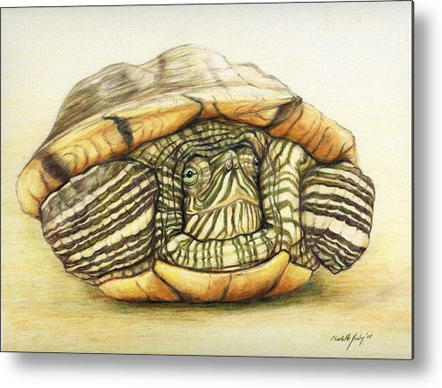Turtle Metal Print featuring the painting Slow Retreat by Charlotte Yealey