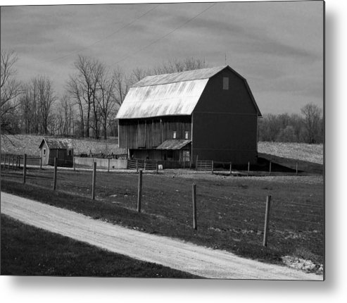 Barn Metal Print featuring the photograph Small And Big Barns Monochrome by Tina M Wenger