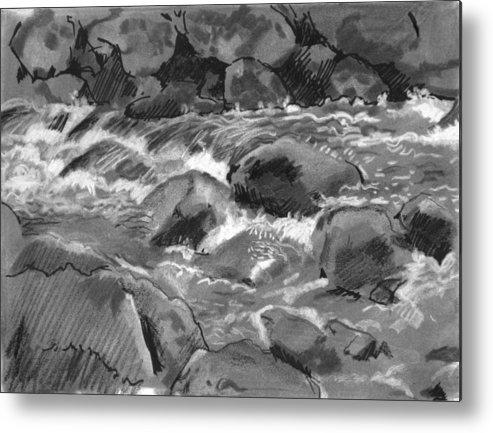 Creek Metal Print featuring the drawing Snow Creek In Spring by Robert Bissett