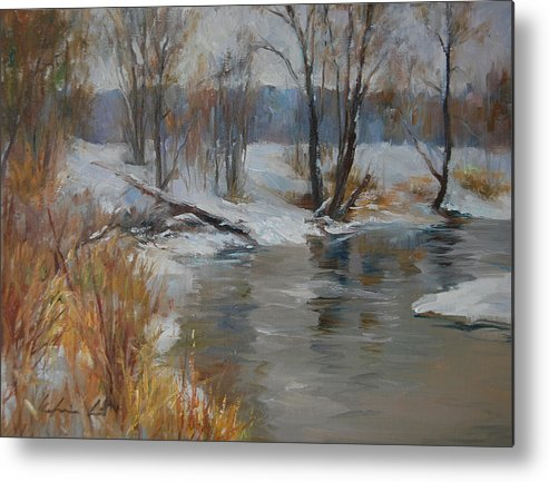 Landscape Metal Print featuring the painting Snow Melting by Kelvin Lei