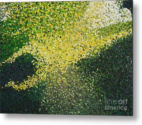 Abstract Metal Print featuring the painting Soft Green Light by Dean Triolo