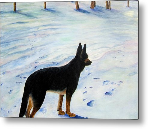 German Shepherd Metal Print featuring the painting Sounds Of Silence by JoLyn Holladay
