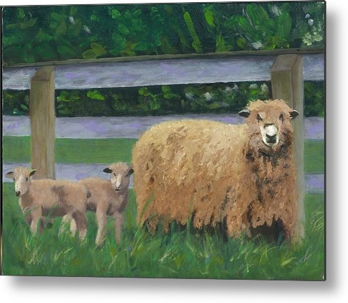 Sheep Lambs Countryside Farm Spring Metal Print featuring the painting Sping Lambs by Paula Emery