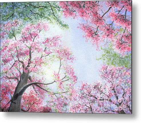 Tree Blossoms Metal Print featuring the painting Spring Blossoms by Lynn Quinn