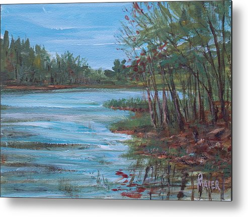 Landscape Metal Print featuring the painting Spring Lake by Pete Maier