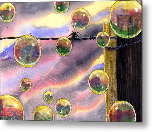 Bubbles Metal Print featuring the painting Spyder by Catherine G McElroy