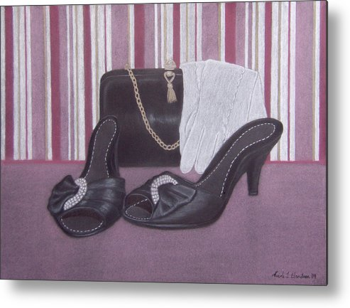 Shoes Metal Print featuring the drawing Stepping Out by Nicole I Hamilton