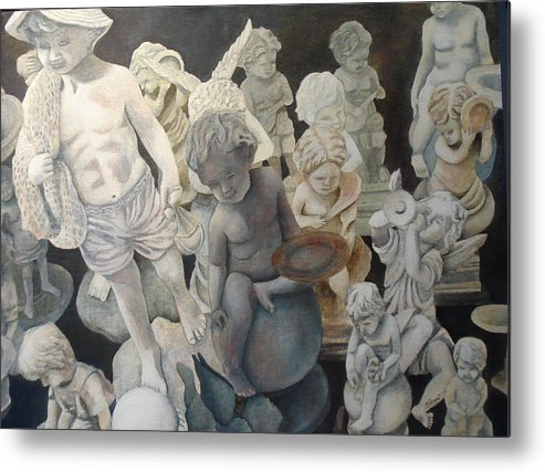 Stone Metal Print featuring the painting Stone Angels by Victoria Heryet