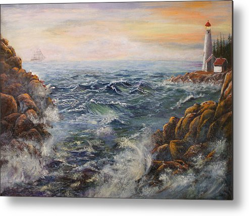 Seascape Metal Print featuring the painting Stormy Pacific by Lucille Owen-Huston