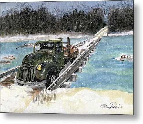 Landscape Metal Print featuring the painting Stranded On Rockford Bridge by Penny Everhart